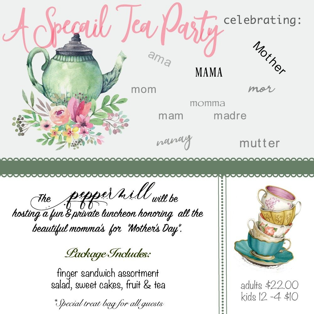 Spring Events 2019 B&B social hours-peppermillbnb-tea